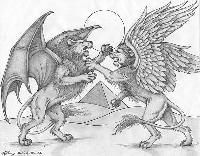 Egyptian Lion Drawing Two Winged Lions Battle Under