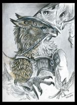 wargryph-sketches4.jpg by Caroline Muchmore (Little Serval)